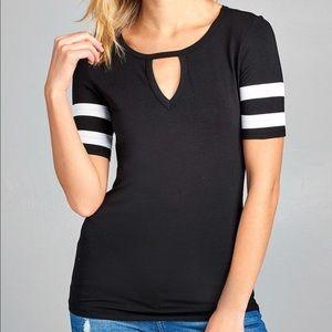 Tops - Black Keyhole Double Stripe Short Sleeve Tee